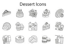 Sweet food line icons set. Dessert collection Royalty Free Stock Photo