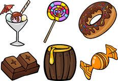 Sweet food objects cartoon illustration set Stock Image