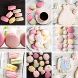 Sweet food photo collage Stock Images
