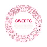 Sweet food round poster with flat line icons. Pastry vector illustrations - lollipop, chocolate bar, milkshake, cookie royalty free illustration