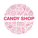 Sweet food round poster with flat line icons. Pastry vector illustrations - lollipop, chocolate bar, milkshake, cookie stock illustration