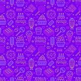 Sweet food seamless pattern with flat line icons. Pastry vector illustrations - lollipop, chocolate bar, milkshake vector illustration