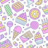 Sweet food seamless pattern with flat line icons. Pastry vector illustrations - lollipop, chocolate bar, milkshake royalty free illustration