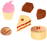 Sweet food set. Set o tasty sweet food : cupcake, different chocolate candy, cake with cherry and piece of cake with raspberry. Vector illustration Royalty Free Stock Photos