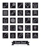 Sweet Food square black line icon set royalty free illustration