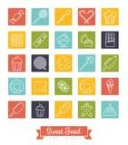 Sweet Food square line icon set stock illustration