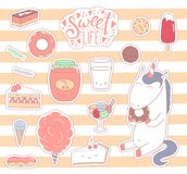 Sweet food stickers royalty free illustration