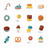 Sweet Food and Sweetmeat Icons Royalty Free Stock Images