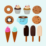 Sweet food vector collection. Royalty Free Stock Photography