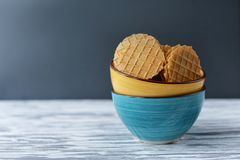 Sweet food waffles cookies in a plate Royalty Free Stock Photography