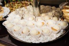 Sweet food on wedding Stock Photos