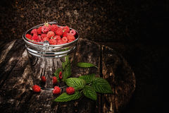 Sweet fragrant wild raspberries in a bucket. On a dark background Royalty Free Stock Photo