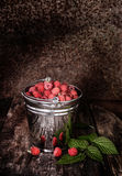 Sweet fragrant wild raspberries in a bucket. On a dark background Stock Images