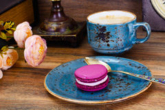 Sweet  French Macaroons with Cofee Cup Royalty Free Stock Images