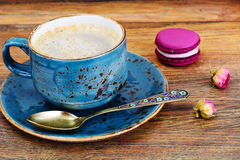 Sweet  French Macaroons with Cofee Cup Royalty Free Stock Photos