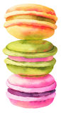 Sweet french macaroons Dessert. Watercolor illustr. Sweet and colourful french macaroons Dessert. Watercolor illustration Royalty Free Stock Images