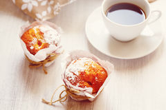 Sweet Fresh Baked Muffins with Cup of Coffee Royalty Free Stock Images