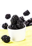 Sweet Fresh  Blackberries in a white bowl. On a yellow napkin isolated on white background, closeup Royalty Free Stock Photo