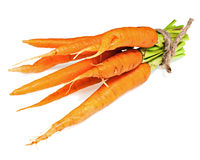 Sweet, fresh carrots vegetables isolated on white background. Stock Images