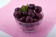 Sweet fresh cherries in a glass bowl Royalty Free Stock Photo