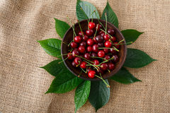 Sweet fresh cherries with green leaves on sack cloth Royalty Free Stock Photography