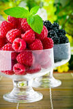 Sweet fresh fruits in glass goblet Stock Images
