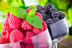 Sweet fresh fruits in glass goblet Royalty Free Stock Photos