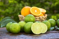 Sweet fresh lemon in natural light on old wood Stock Image