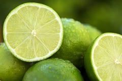 Sweet fresh lemon in natural light on old wood Stock Images