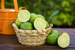 Sweet fresh lemon in natural light on old wood Stock Photography