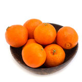 Sweet fresh mandarin in the wood bowl Royalty Free Stock Photo
