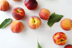 Sweet fresh organic peaches. Above Royalty Free Stock Photography