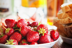 Sweet fresh organic strawberry on the wooden table Stock Photos