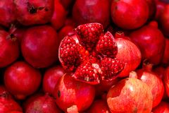 Sweet fresh pomegranate. Background and texture royalty free stock photo