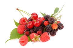 Sweet fresh raspberry fruit on white. Sweet fresh raspberry fruit  with green leaf Stock Photos