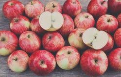 Sweet fresh ripe red apple harvest background Stock Photo