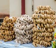 Sweet fresh round grain bagels handmade Royalty Free Stock Image