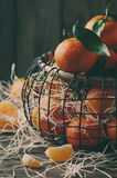 Sweet fresh tangerins on the vintage table Royalty Free Stock Image