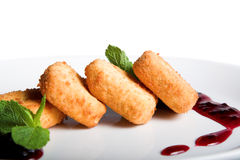 Sweet fried cheese Stock Photos