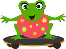 Sweet Frog on a Skateboard Royalty Free Stock Images