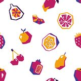 Sweet fruit abstract seamless pattern. Stylized geometric design Stock Images