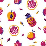 Sweet fruit abstract seamless pattern. Stylized geometric design Stock Photos