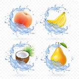Sweet fruit. Banana, coconut, peach, pear and apricot fresh juice Realistic illustration. 3d vector icons set. Sweet fruit. Banana, coconut, peach, pear apricot Royalty Free Stock Photo