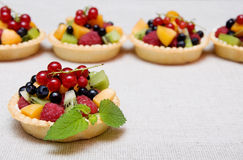 Sweet fruit dessert. With raspberries, apricot, kiwi and blueberries in tartl Stock Image