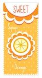Sweet fruit labels for drinks, syrup, jam. Orange label. Vector illustration. Royalty Free Stock Images
