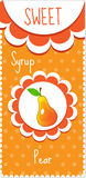 Sweet fruit labels for drinks, syrup, jam. Pear label. Vector illustration. Royalty Free Stock Images