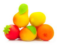 Sweet fruit marzipan candy isolated Royalty Free Stock Images