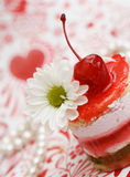 Sweet fruit red cake with cherry Stock Photo