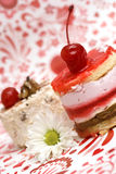 Sweet fruit red cake with cherry  and camomile Stock Photos
