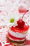Sweet Fruit Red Cake With Cherry Stock Photography